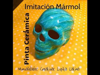 DIY pinta Ceramica imitación mármol azul turquesa  cráneo Painted ceramic marble imitation turquoise