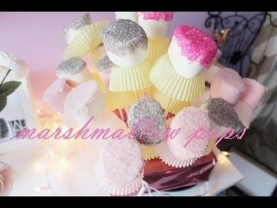 Marshmallow pops |  bombones con azucar de colores | how to |diy