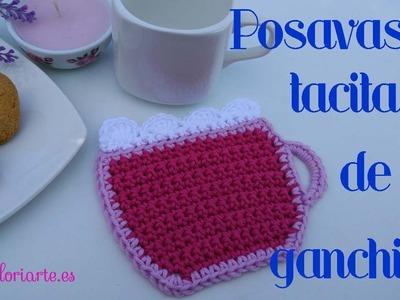 Posavasos tacita de ganchillo. Crochet coasters cup.