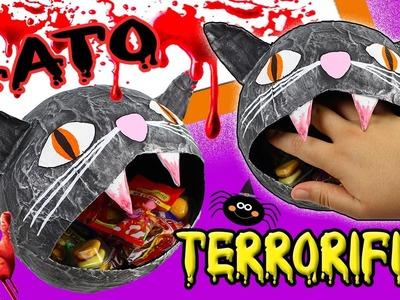 TERRORÍFICA CABEZA de GATO de PAPEL!!Manualidades de HALLOWEEN - Mery