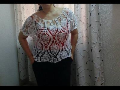 Blusa clasica de piñas tejida en algodón parte 1