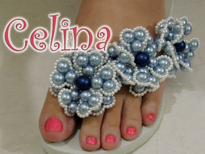 Chinelo decorado - Flor de pérolas
