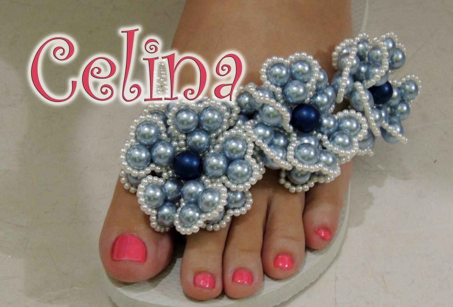 Chinelo decorado - Flor de pérolas