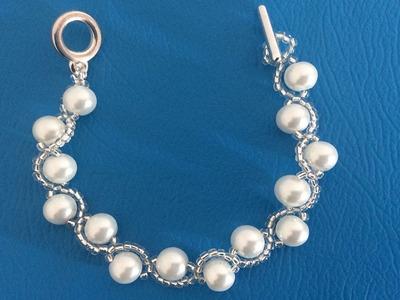 Como hacer pulseras con chaquira, pulseras con perlas.
