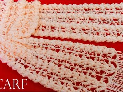 Como tejer fácil y rápido bufanda o chalina en puntos originales a crochet- knit easy crochet