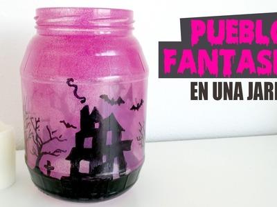 DIY PUEBLO FANTASMA EN UNA JARRA I Haz un portavelas reciclado para Halloween ♥ Qué cositas