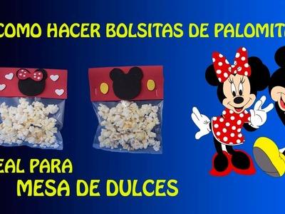 BOLSA DE PALOMITAS MINNIE Y MICKEY MOSE PARA MESA DE DULCES.CANDY BAR