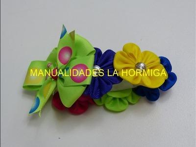 Como elaborar Coleta con flor kanzashi en cinta o tela para decorar peinados cebolla, #523