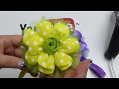 Como elaborar flores grandes liston quemado para tiaras de bebe;video 542,Ribbon Hair Bow,