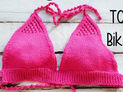 Cómo tejer un bikini fácil en dos agujas: el top-parte de arriba
