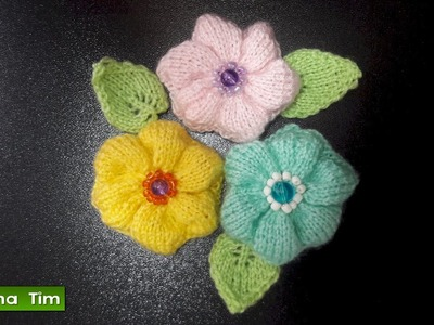 FLOR (flores) tejidos con dos agujas # 491 Tutorial.