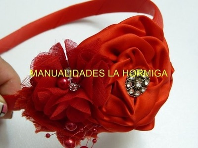 Flores de tela facilitas para bautizo, Video 540,rose from satin ribbon