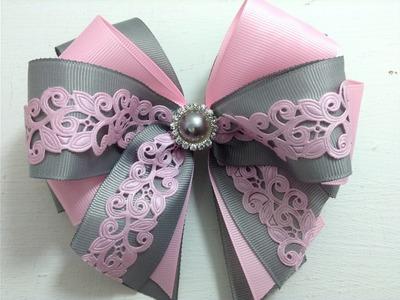Lazo doble gris con rosa  VIDEO No. 370