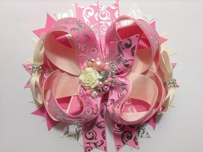 Moño boutique doble en color rosa, beich  y plata VIDEO No. 340