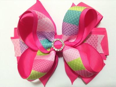 Moño  Boutique rosa elegante  con centro brillante VIDEO No. 335
