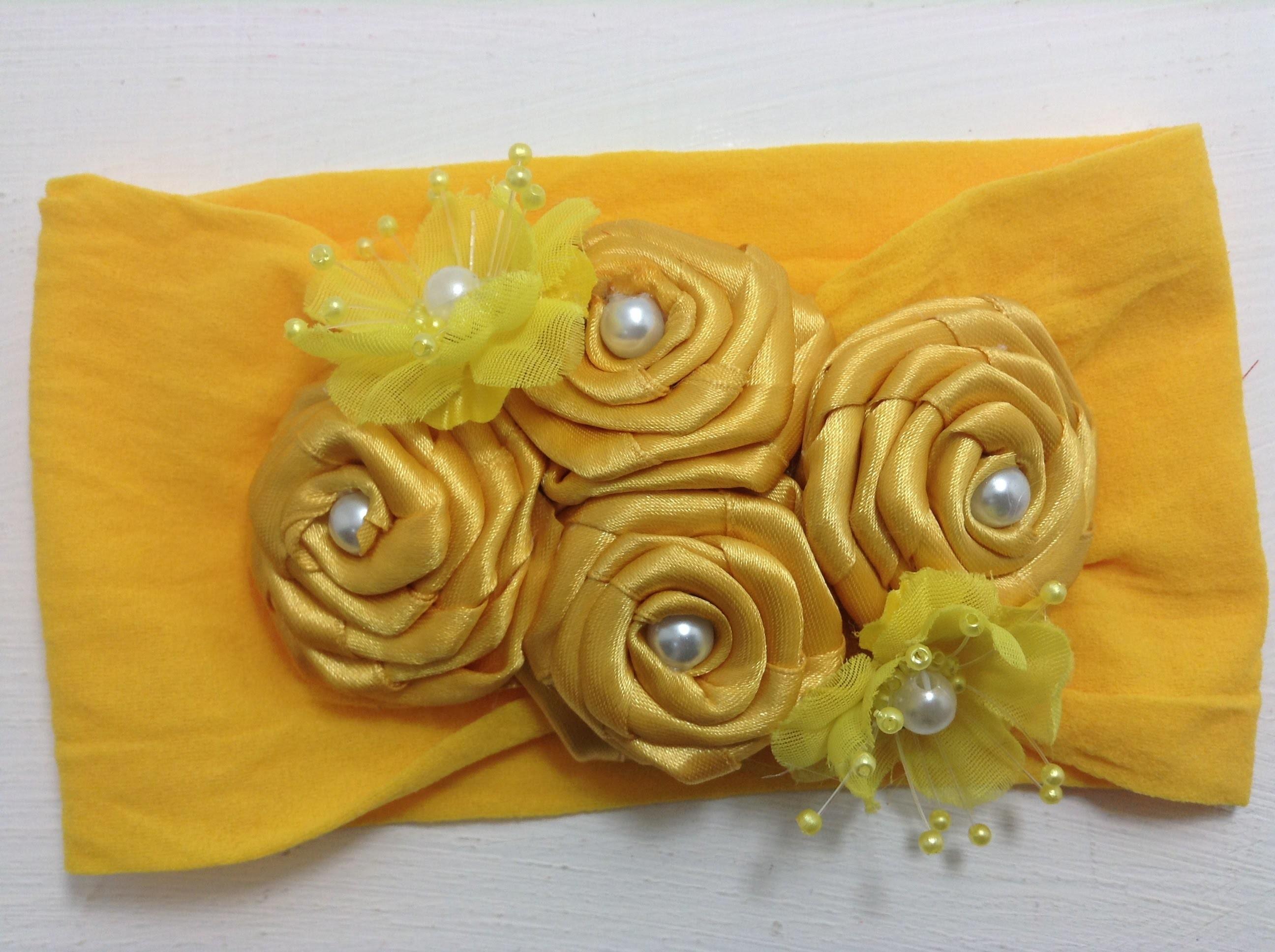 Tiara amarilla de flores de listón VIDEO No. 362