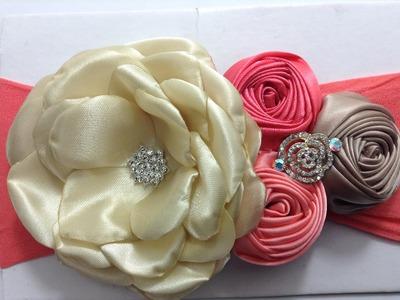Tiara con flor torbellino y flor grande de tela de razo VIDEO No. 352