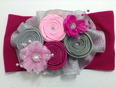 Tiara de flor enrolladita  combinación gris-rosa VIDEO No. 365