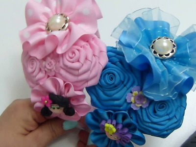 Tiara de Flores en cinta Raso y Gros para Diademas, #522, TRes Flores de liston Fáciles