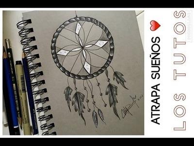 COMO DIBUJAR UN ATRAPA SUEÑOS A LAPIZ PASO A PASO - how to draw dream Catcher step by step