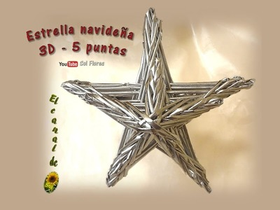 Estrella 3D de cinco puntas con papel periódico - 3D five-pointed star with newspaper