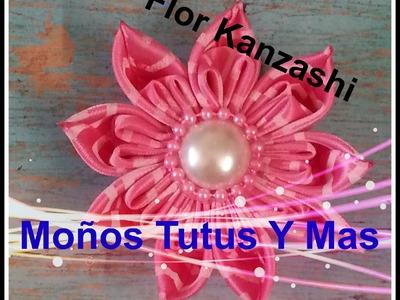 FLOR KANZASHI con LISTON SATINADO Paso a Paso SATIN KANZASHI FLOWER Tutorial DIY How To PAP
