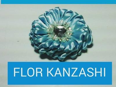 Flor kanzashi.kanzashi flower.ribbon kanzashi.Creactivate manualidades.Myme mijangos.crafts.tutorial