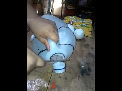 Gallinita con envase reciclado