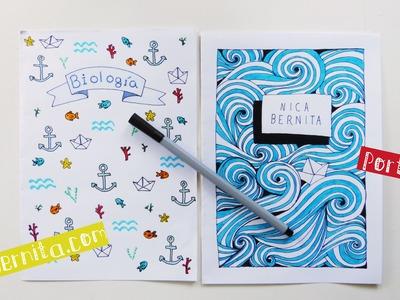 Ideas de PORTADAS para CUADERNOS. DECORAR LIBRETAS con dibujos de olas