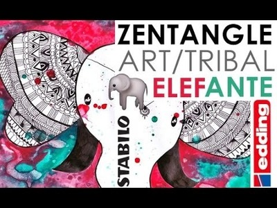 Zentangle Art. Zentangle Tribal Elefante