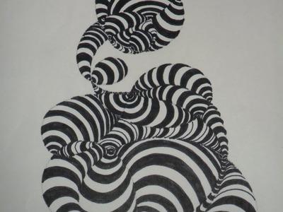 ABSTRACTO: Composición-Textura conformada por trazados curvos. Muy fácil y agradable práctica.