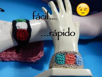 Cómo tejer pulsera tunecino y ganchillo, tunisian and crochet bracelet DIY ⏩