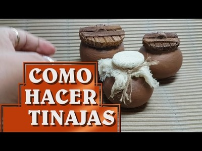 Como hacer tinajas de barro con botellas - IMITATION JARS, VESSEL OF MUD, MINIATURES.
