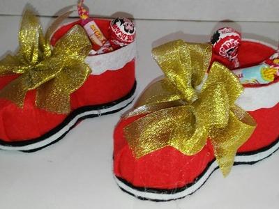 Como hacer un dulcero de bota de navidad adornos navideños manualidades tutorial DIY