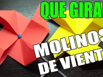 Como hacer un molino de viento de papel paso a paso | Origamis divertidos (Muy fácil)