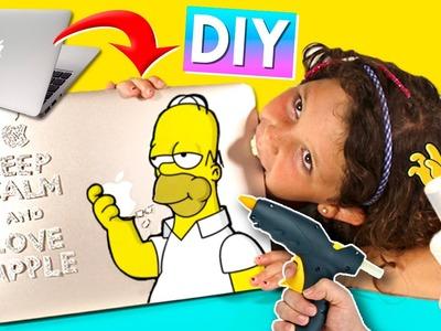 Decora tu LAPTOP con SILICONA CALIENTE * Dibuja Simpsons con SILICON CALIENTE