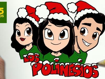 COMO DIBUJAR A LOS POLINESIOS PARA NAVIDAD PASO A PASO: Dibujos kawaii navideños - draw Polinesios