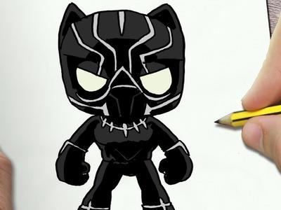 COMO DIBUJAR PANTERA NEGRA KAWAII PASO A PASO - Dibujos kawaii faciles - How to draw a Black Panther