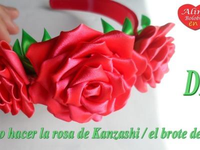 Como hacer la rosa de Kanzashi. el brote de rosa