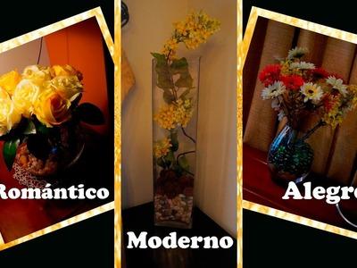 DIY Dale vida a tus FLORES ARTIFICIALES. Aprende TRUCOS. 3 Floreros con Toque chic.