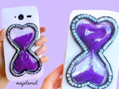 DIY FUNDA LÍQUIDA para móvil - Reloj de arena con forma de corazones