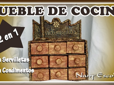 MUEBLE DE COCINA PORTA CONDIMENTOS Y SERVILLETAS