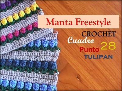 PUNTO TULIPAN a crochet - cuadro 28 manta FREESTYLE (zurdo)