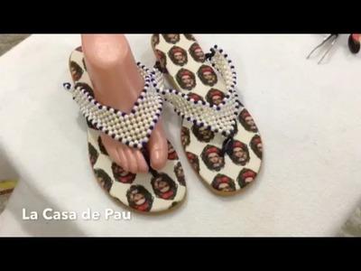 Sandalias con perlas, sandalias decoradas, decoradas con perlas. español