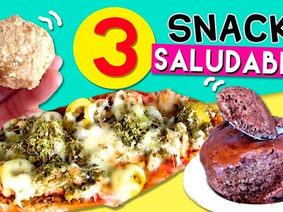 3 SNACKS saludables FÁCILES * MUGCAKE de cacao, bolitas de AVENA y MINI PIZZA integral