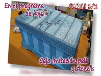 CAJA MADERA CON IMITACION A PALE Y STENCILS 1.2