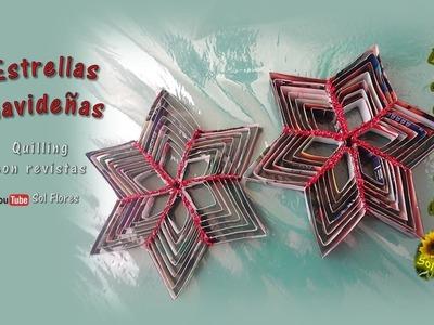 Estrellas navideñas, quilling con revistas- Christmas stars, quilling magazines
