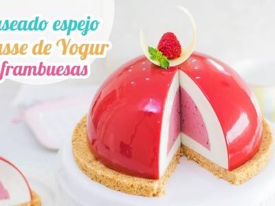Glaseado espejo sobre mousse de yogur y frambuesa | Mirror Glaze | Quiero Cupcakes!