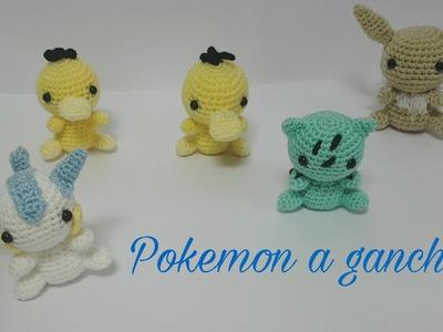 Pokémon a ganchillo: pachirisu, psyduck, bulbasaur y eevee.