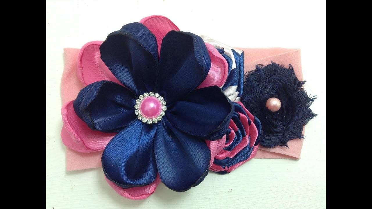 Tiara  con flores rosa-marino VIDEO No.366